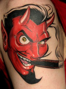 Devil Tattoo on Right Arm
