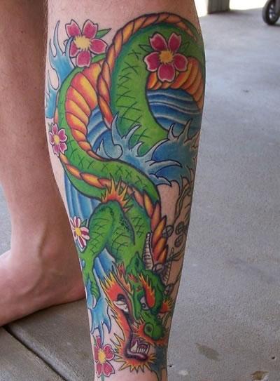 Green Dragon Tattoo Design Leg